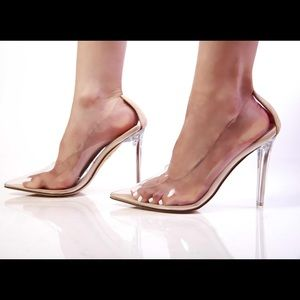 Clear Cinderella pumps (other sizes available)